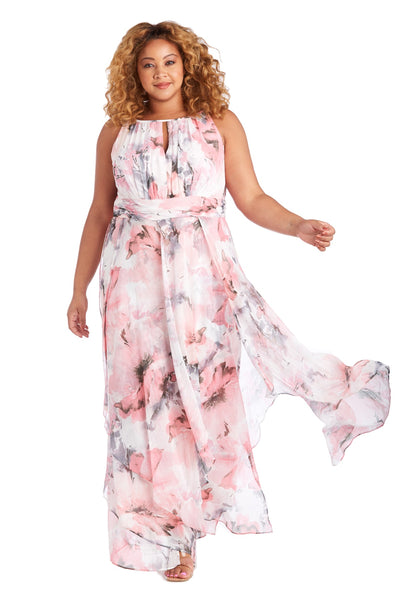 Long Keyhole Halter Dress In Sheer Portal Printed Chiffon