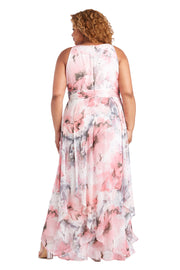 Plus Long Keyhole Halter Dress In Sheer Portal Printed Chiffon