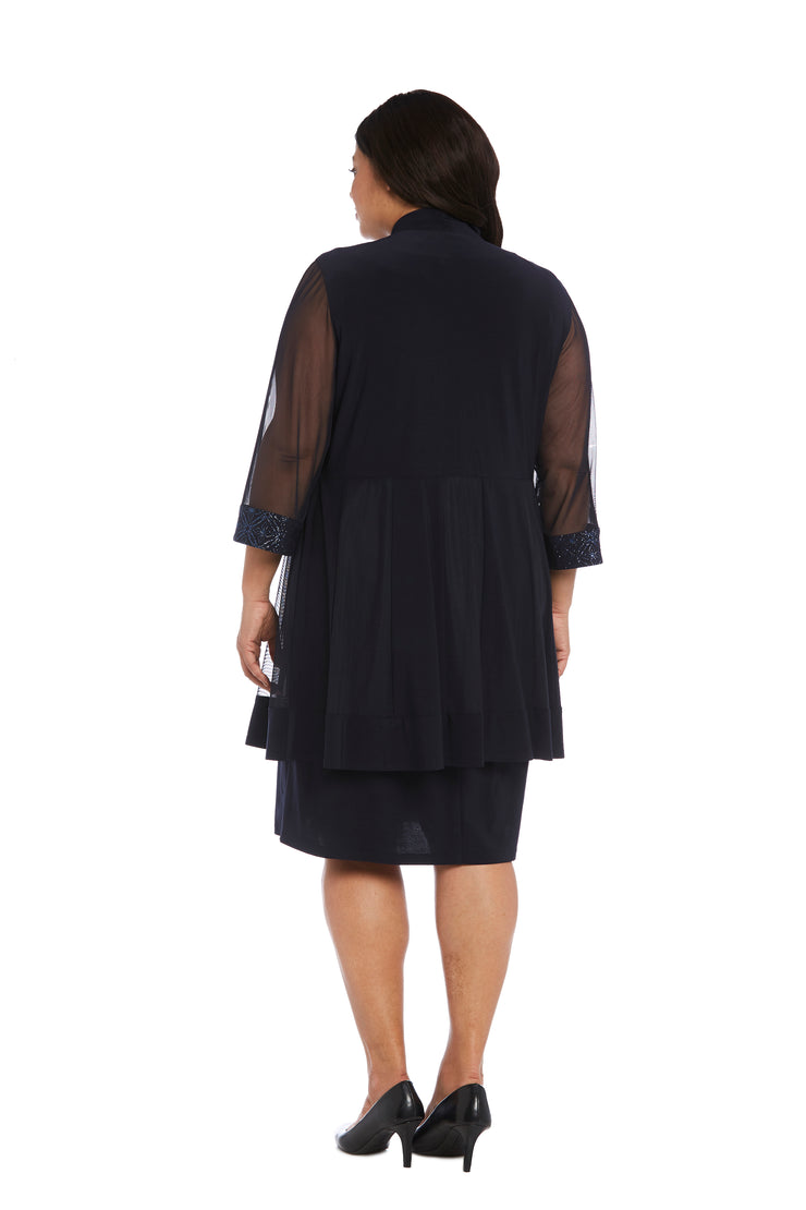 Plus Relaxed-Fit Shift Dress with Sparkling Neckline and Soft Jacket with Sheer Inserts