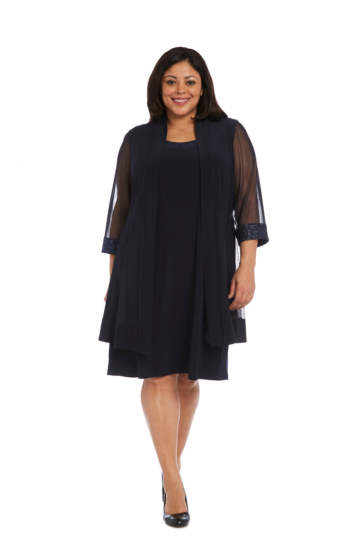 Relaxed-Fit Shift Dress with Sparkling Neckline and Soft Jacket with Sheer Inserts