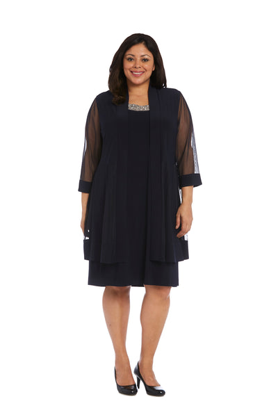 Plus Knee-Length Dress with Beaded Neckline and Soft Jacket with Sheer Sleeves