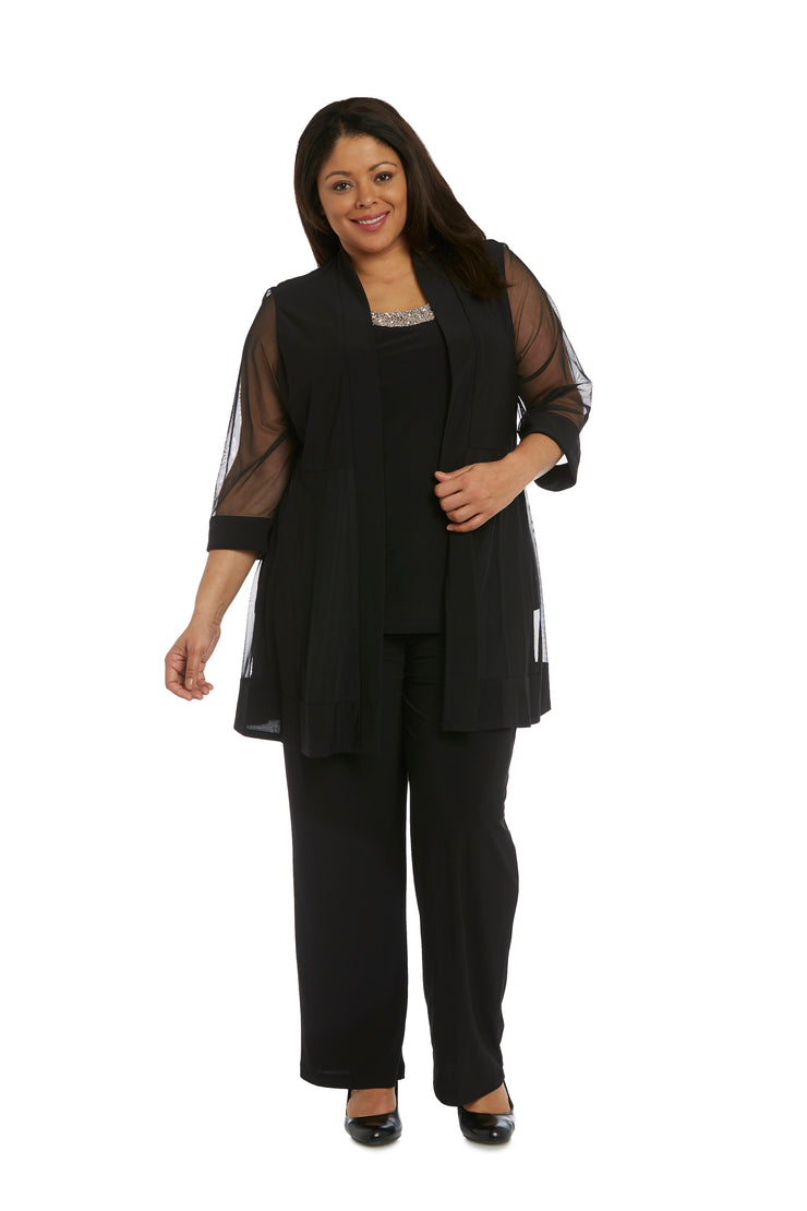 Plus Faux Three-Piece Pant Suit with Sheer Inserts, Beading and Diamante