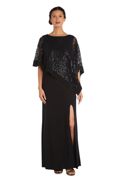 Sleeveless Maxi Dress with Thigh Split and Sheer Lace Poncho with Sequins