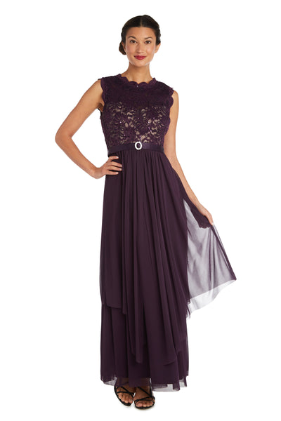 Maxi Gown with Lace Bust and Sheer Skirt, with Diamante Embellishment