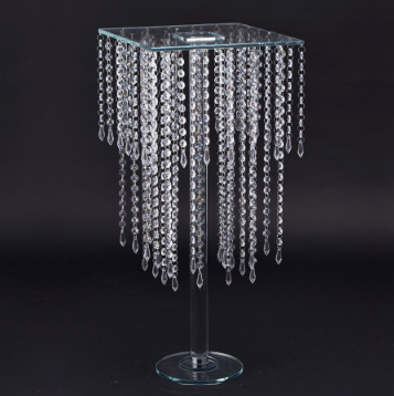 Crystal Beaded 2-Tier Glass Cake Stand