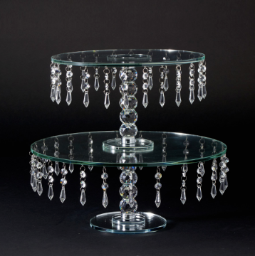Crystal Beaded 2 Tier Glass Cake Stand