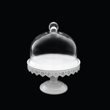 Glass Dome Cover Cake Stand with Metal Stand