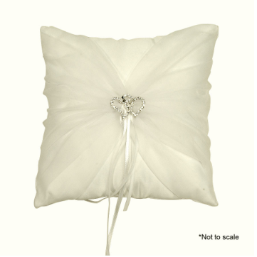 Wedding Pillow with Heart Rhinestone Accent & Organza