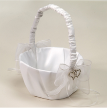 Load image into Gallery viewer, Wedding Basket with Heart Rhinestone Accent & Organza