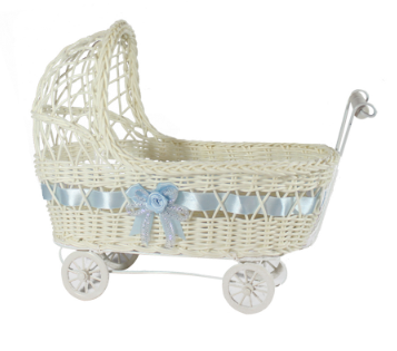 Wicker Baby Carriage Centerpiece