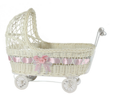 Load image into Gallery viewer, Wicker Baby Carriage Centerpiece