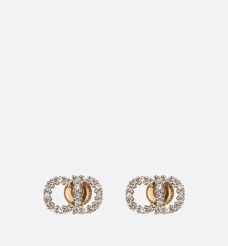 Clair D Lune Earrings • Gold-Finish Metal and White Crystals