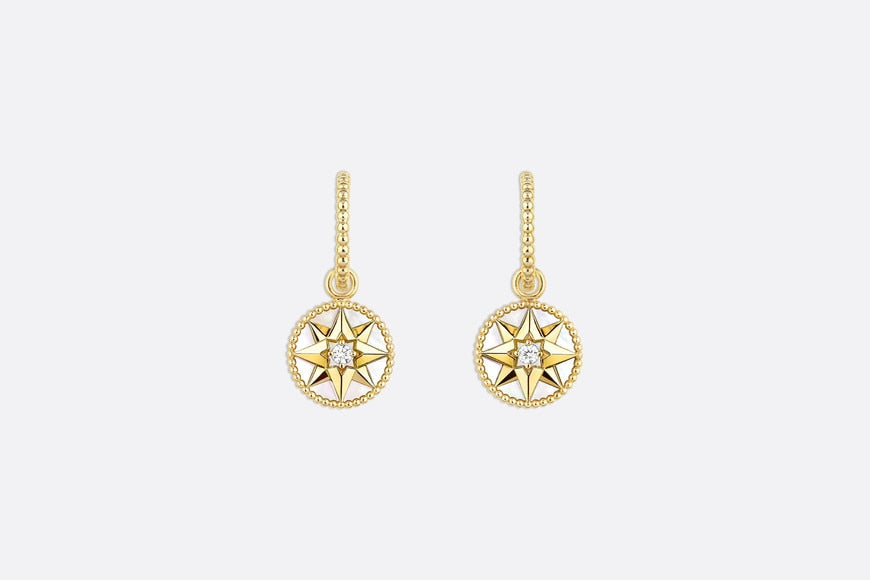 Rose des Vents Earrings • Yellow Gold, Diamonds and Mother-of-pearl