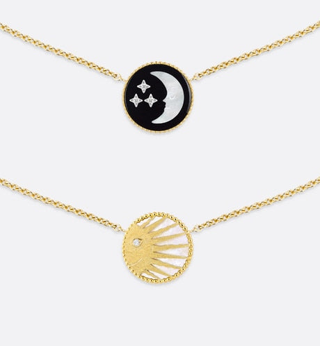 Rose Céleste Necklace • Yellow and White Gold, Diamond, Onyx and Mother-of-pearl