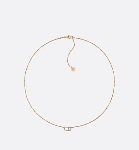 Clair D Lune Necklace • Gold-Finish Metal and White Crystals
