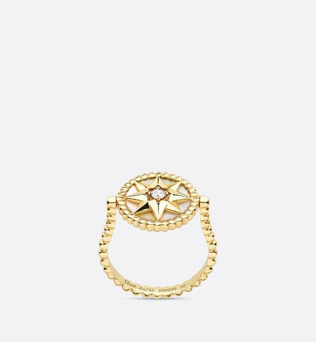 Rose des Vents Ring • Yellow Gold, Diamond and Mother-of-pearl