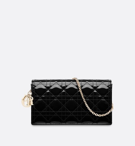 Lady Dior Pouch • Black Cannage Patent Calfskin