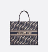 Load image into Gallery viewer, Dior Book Tote • Blue Dior Oblique Embroidery