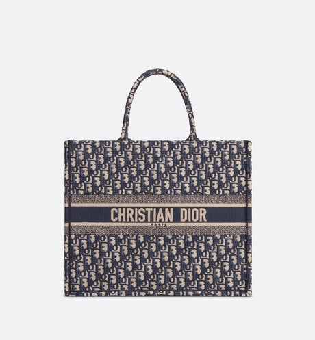 Dior Book Tote • Blue Dior Oblique Embroidery