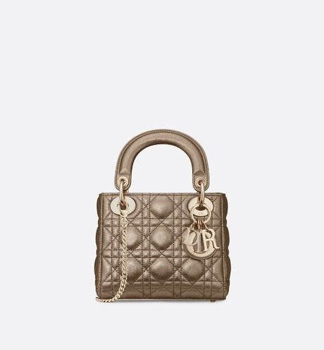 Mini Lady Dior Bag • Metallic Gold Cannage Calfskin