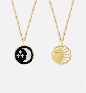 Rose Céleste Medallion Necklace • Yellow and White Gold, Diamond, Onyx and Mother-of-pearl