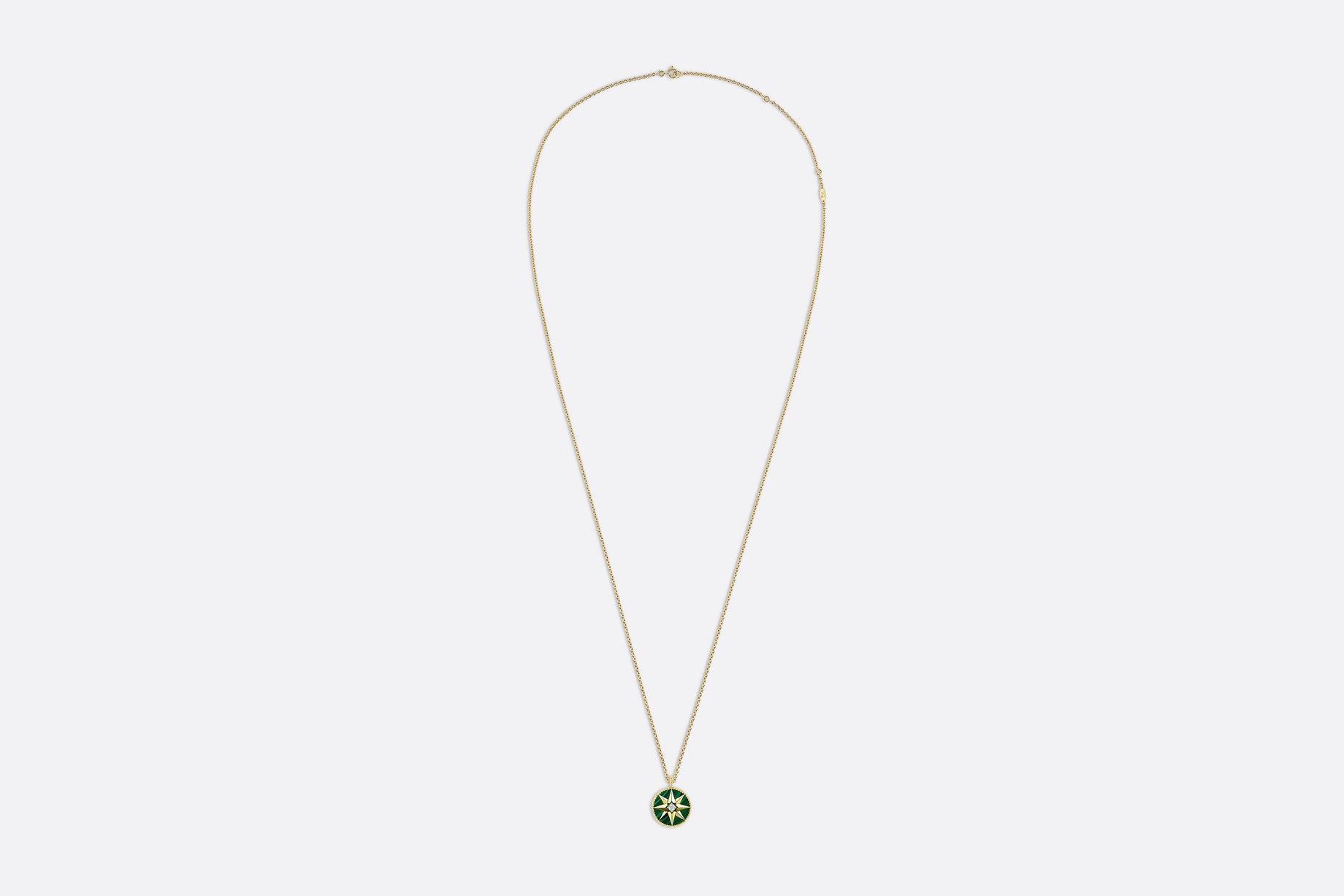 Rose des Vents Medallion Necklace • Yellow Gold, Diamond and Malachite