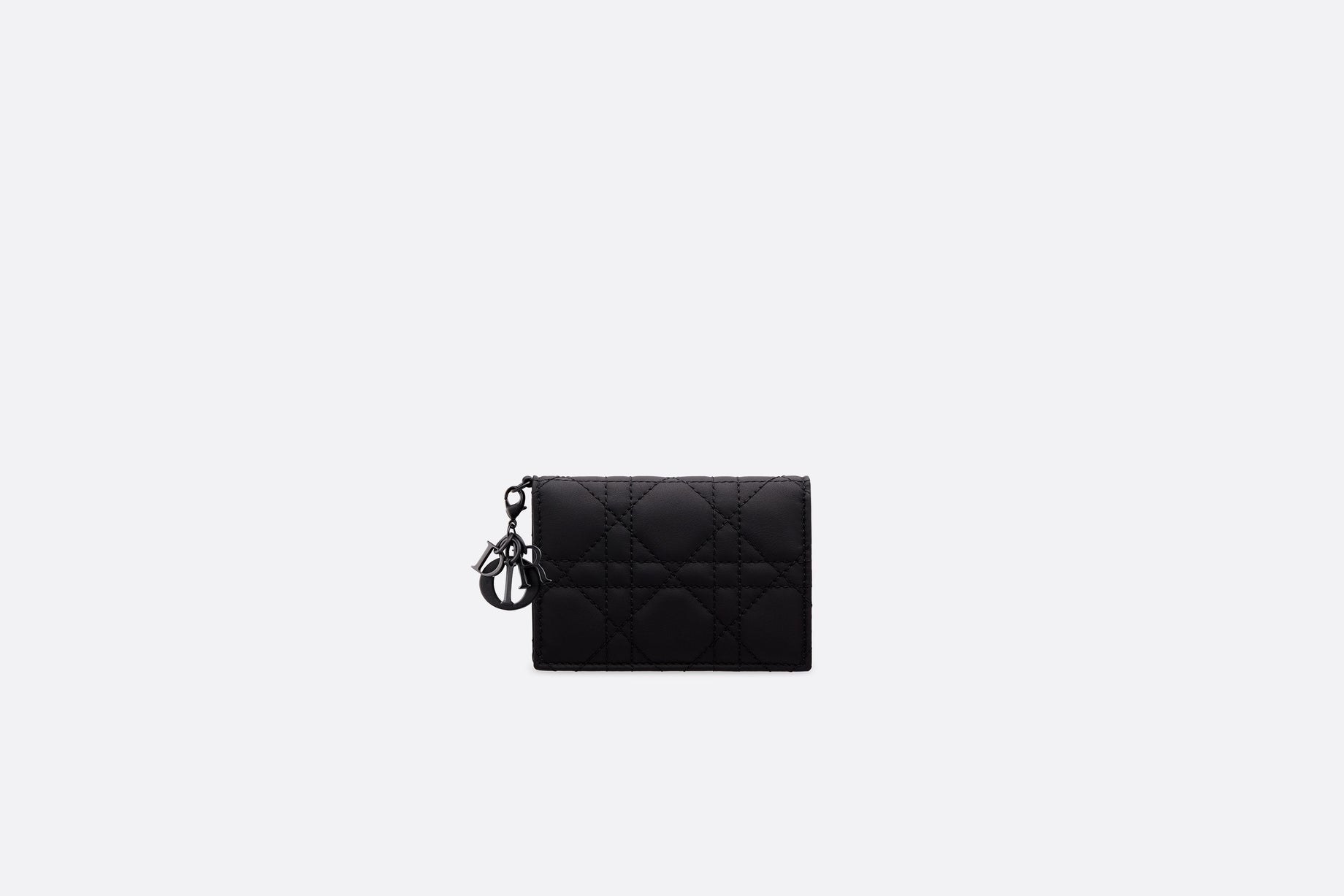 Lady Dior Flap Card Holder • Black Ultramatte Cannage Calfskin