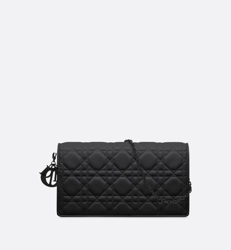 Lady Dior Pouch • Black Ultramatte Cannage Calfskin