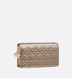 Lady Dior Pouch • Metallic Pale Bronze Grained Cannage Calfskin