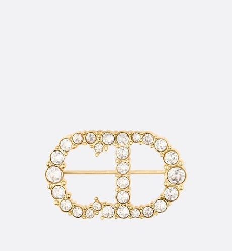 Clair D Lune Brooch • Gold-Finish Metal with a White Crystal