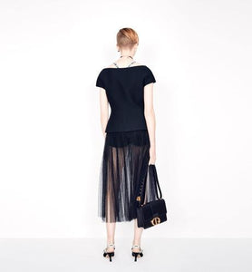 Pleated skirt • Black Point d'Esprit Tulle