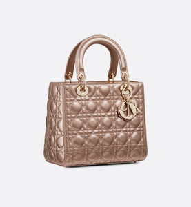 Medium Lady Dior Bag • Metallic Pale Bronze Cannage Grained Calfskin
