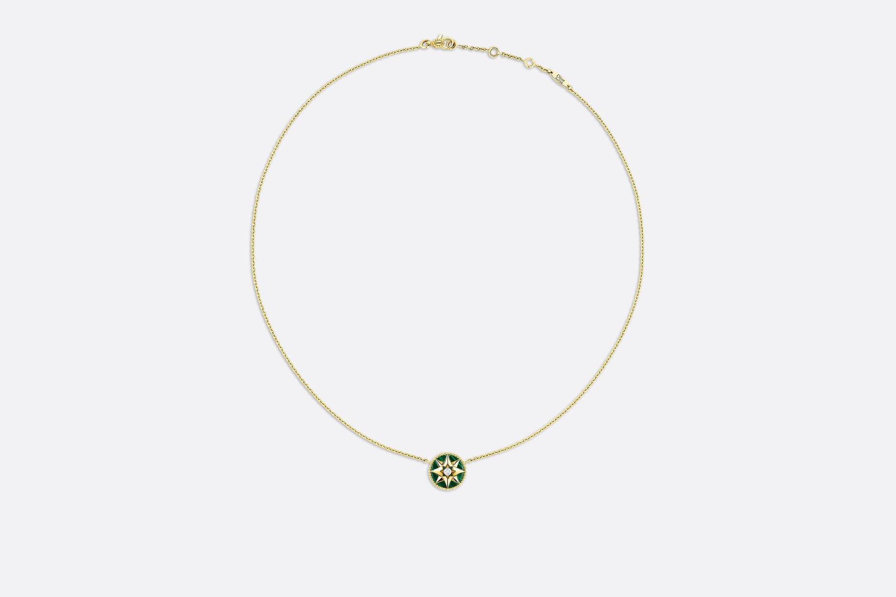 Rose des Vents Necklace • Yellow Gold, Diamond and Malachite