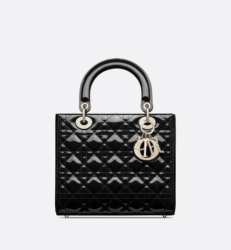 Medium Lady Dior Bag • Black Cannage Patent Calfskin