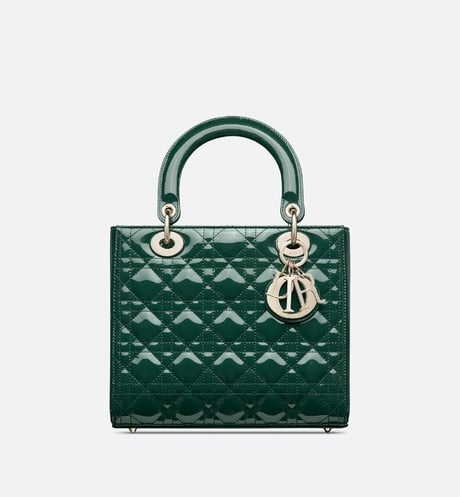 Medium Lady Dior Bag • Leaf Green Cannage Patent Calfskin