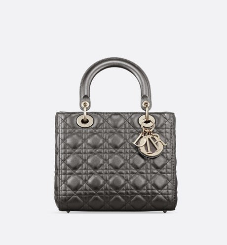 Medium Lady Dior Bag • Metallic Gunmetal Cannage Grained Calfskin