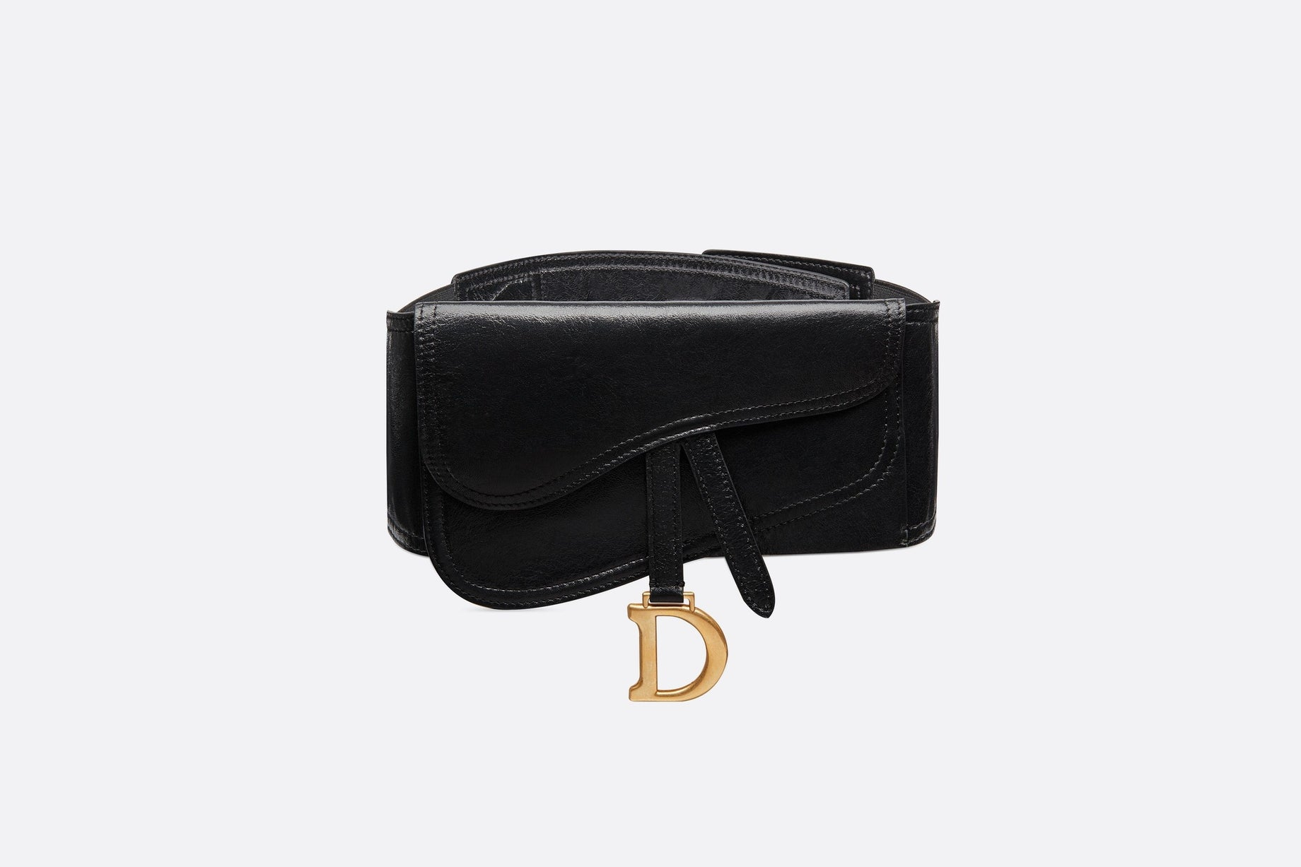 Saddle Belt • Black Crinkled Lambskin, 135 MM