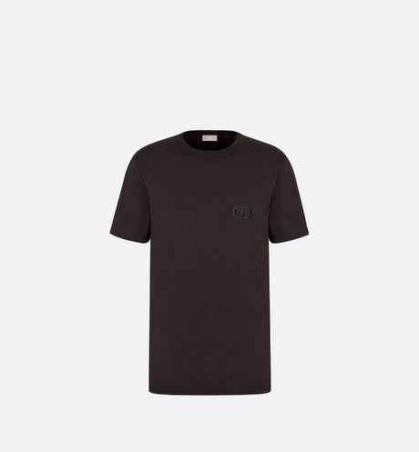 T-Shirt with 'CD Icon' Signature • Black Cotton