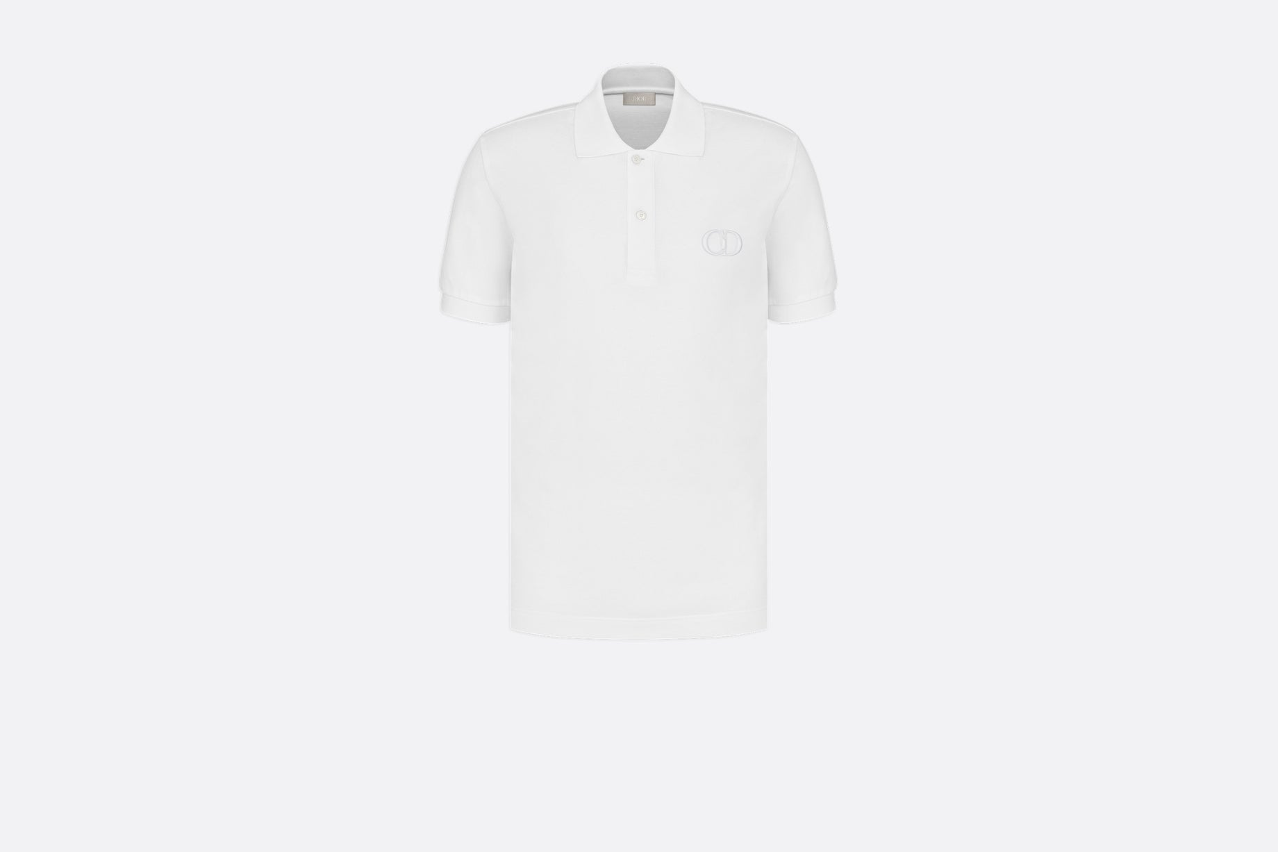 Polo Shirt with 'CD Icon' Signature • White Cotton Piqué