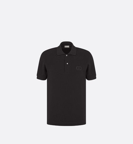 Polo Shirt with 'CD Icon' Signature • Black Cotton Piqué