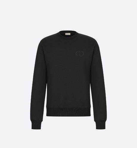 Sweatshirt with 'CD Icon' Signature • Black Cotton Jersey
