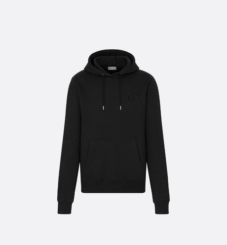 Hooded Sweatshirt with 'CD Icon' Signature • Black Cotton Jersey