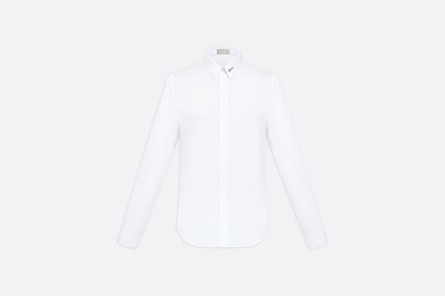 Signature Embroidery Shirt • White Cotton Poplin