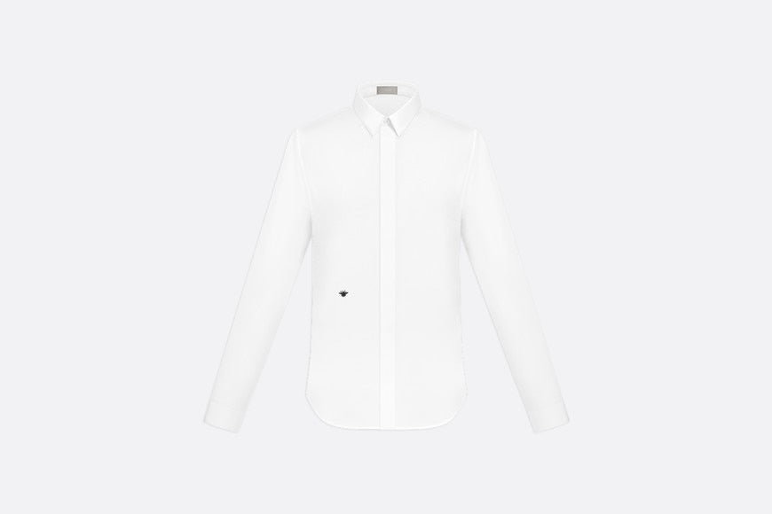 Shirt with Bee Embroidery • White Cotton Poplin