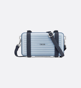 DIOR and RIMOWA Personal Clutch • Blue Aluminum and Grained Calfskin