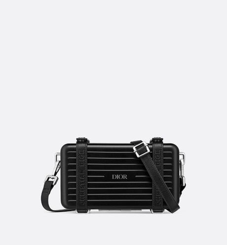 DIOR and RIMOWA Personal Clutch • Black Aluminum and Grained Calfskin