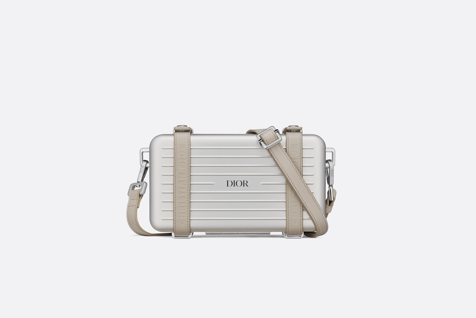 DIOR and RIMOWA Personal Clutch • Gray Aluminum and Beige Grained Calfskin