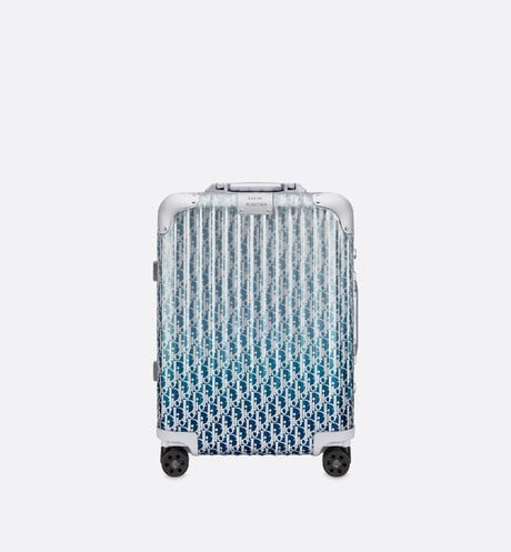 DIOR and RIMOWA Cabin Suitcase • Gradient Blue Dior Oblique Aluminum