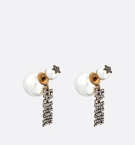 Dior Tribales Earrings • Antique Gold-Finish Metal and White Crystals