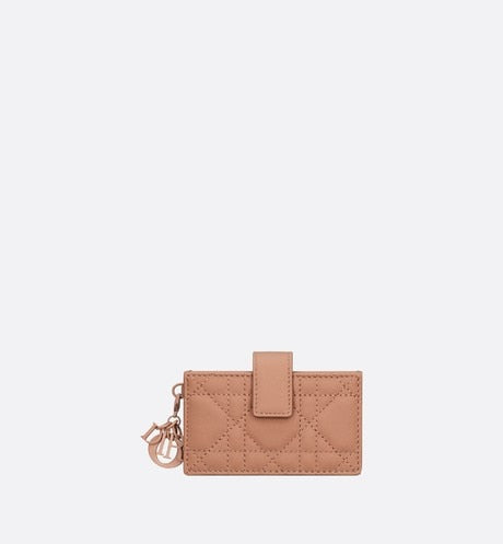 Lady Dior 5-Gusset Card Holder • Blush Ultramatte Cannage Calfskin